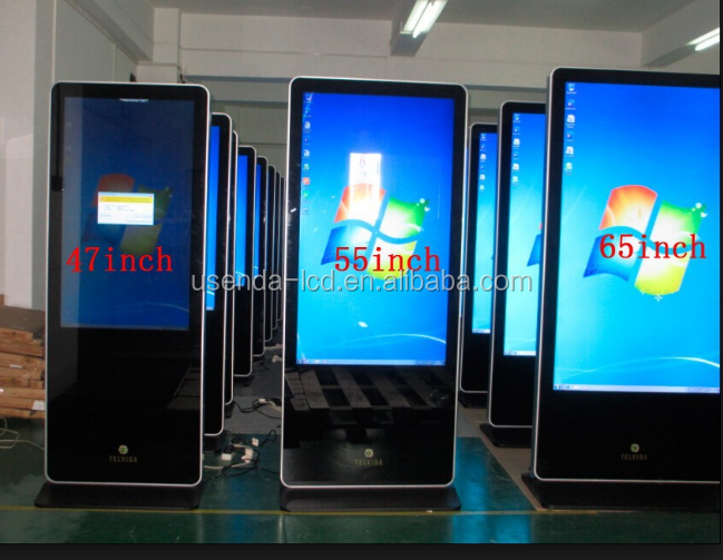 46inch floor standing lcd advertising player screen displays with built-in pc