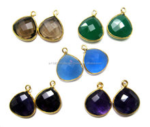 Multistone Multicolour Beautiful Shape Formed Wholesale Gemstone Gold Bezel Connector