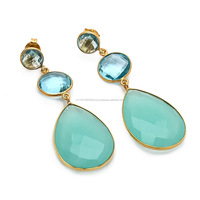 Chalcedony And Blue Quartz Earring Faceted