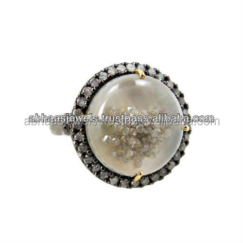 Crystal Shaker Ring 925 Sterling Silver Diamond Loose Mother Of Pearl Gemstone Ring Wholesale Supplier