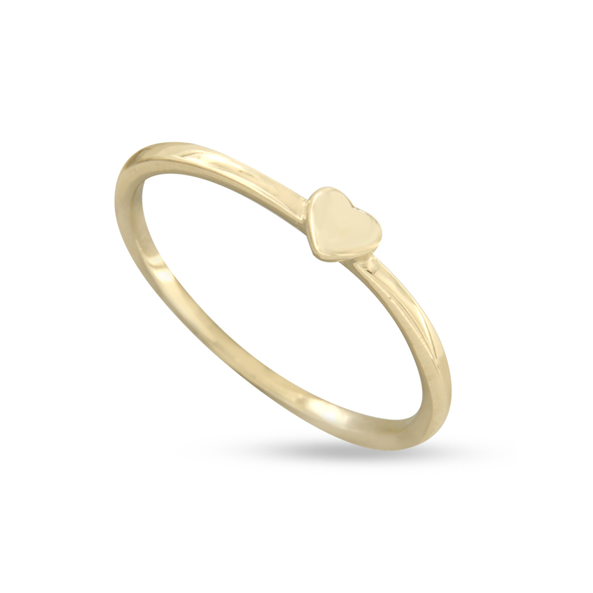 High quality Yellow gold over silver delicate heart ring for women jewelry