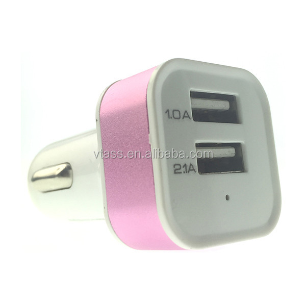 Hot selling aluminium colorful dual USB car charger 2.1A 2.4A output for iPhone,promotional double 2 USB car charger adapter