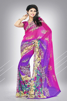 Variation Pink & Purple Georgette Printed Saree