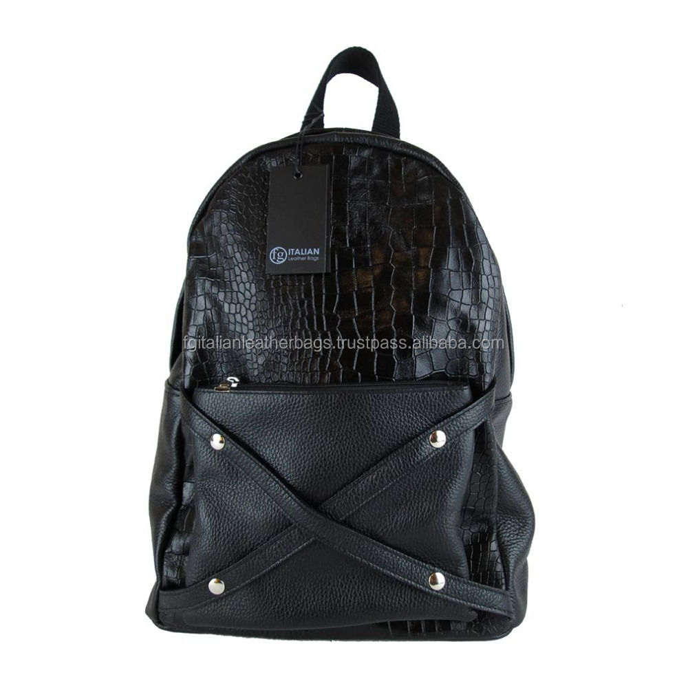 genuine leather backpack high quality made in Italy Embossed black