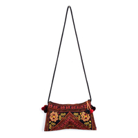 Hmong Diamond Embroidered Handmade Cross Body Bag - Orange