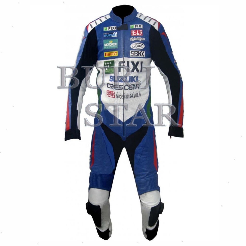 Motorbike Leather Suit , Blue & White Full Safety Motorcycle Racing Suit - Cowhide Leather