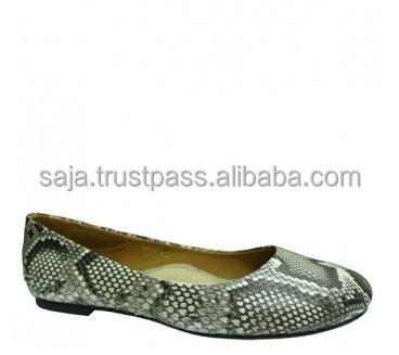Python leather ballet flats SWPS-012