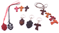 Ornament Religious Stuff Crosses Pendants Keychain Tao Real Leather Handmade In Italy Vero Cuoio