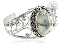 Fashion Of Indian Style Dendritic Opal Bangle Wholesale Real Solid 925 Sterling Silver Jewelry BGCB2005-5