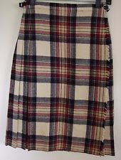 Scotland Womens16 Black Burgundy Tan Plaid Pleated Scottish Kilt TRI-1828