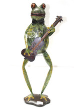 Green Color Metallic Designer Frog Standing With Guitar In Hand Figurine