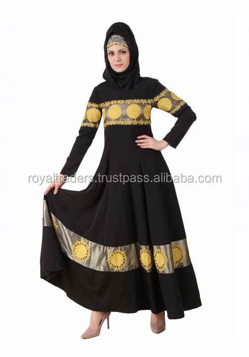 Flowers printed nida dubai muslim front open abaya with belt new design islamic women wear maxi jubah in stock kaftan open abay