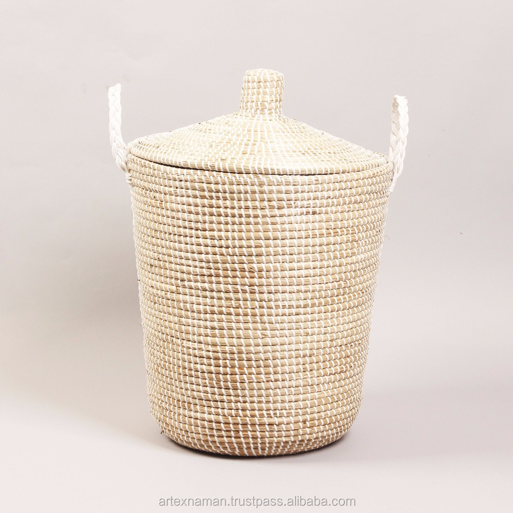 Home Handcrafts Vietnamese coiled seagrass storage basket, laundry hamper