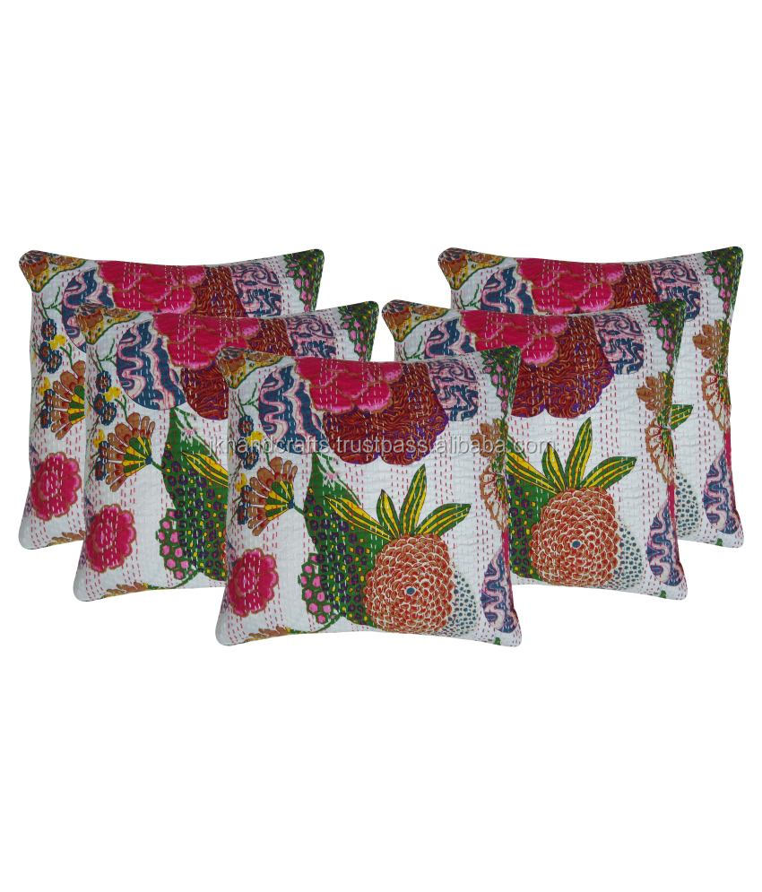 Indian Fruit Print Kantha Cushion Cover Tropicana Kantha Cushion Pillow Covers