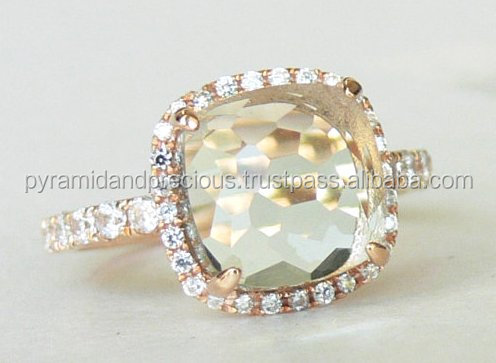 Green Amethyst Quartz Faceted Cushion Sterling Silver Rose Gold Plated Pave set Ring- Rose-cut Stone Ring