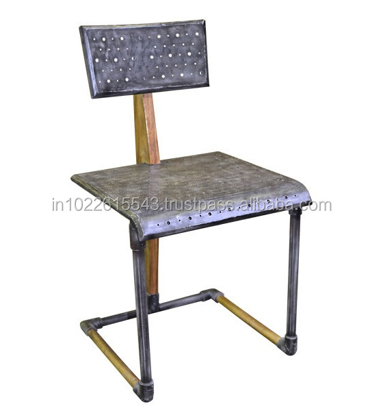 Industrial Metal Wooden Frame Restaurant Chair