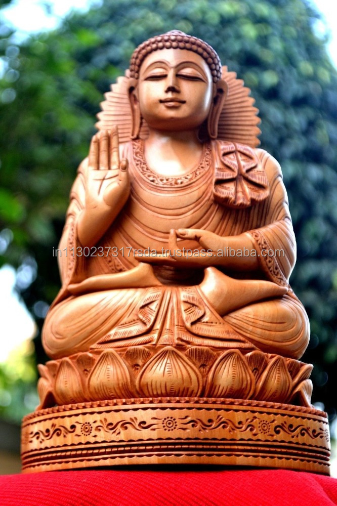 Buddha Idol Wood Handcarved Sculpture Sitting On Lotus Abhya Buddha Figure Indian Handicrafts