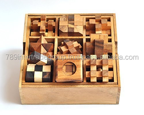 9 Puzzle Set , Games & Puzzles, Wooden Puzzle Box Set, Wooden Puzzles for Adults.