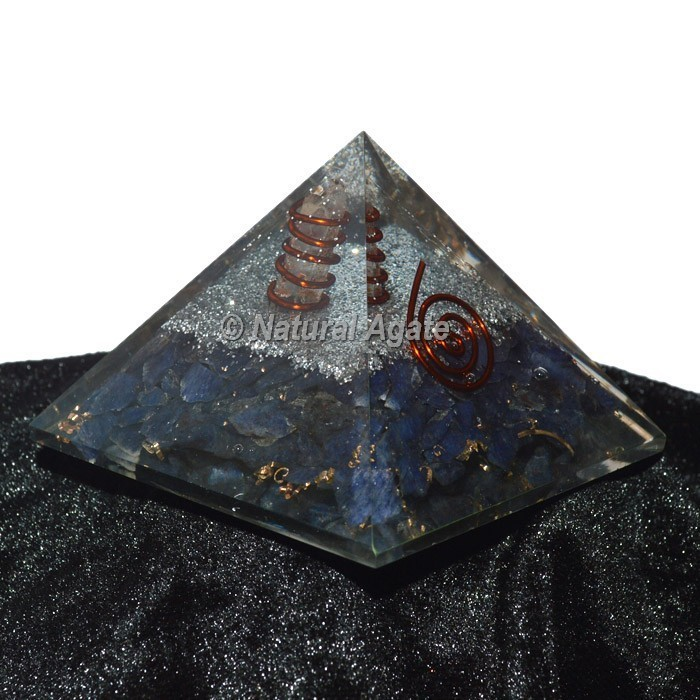 Sodalite With Silver Brass Orgone Pyramid