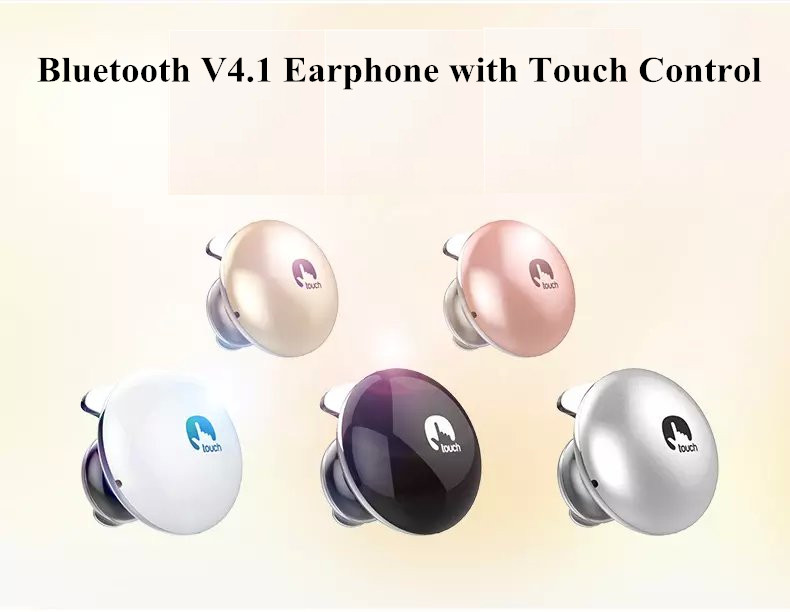wireless bluetooth headphone v4.1 headset stereo in-ear earphone with touch control for iphone/samsung/wechat/tablet pc