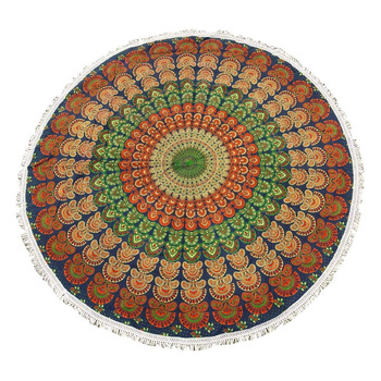 "Mandala Indian Round Tapestry Blue Table Cloth Bedsheet Beach Throw Yoga Mat 68"" Diameter-TPR9A"