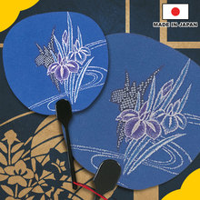 "Greeting card Japanese Uchiwa shape ""Ayame"" made in Japan"