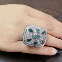 Gemstone Fashion Jewelry, Pave Diamond Emerald Attract Ring