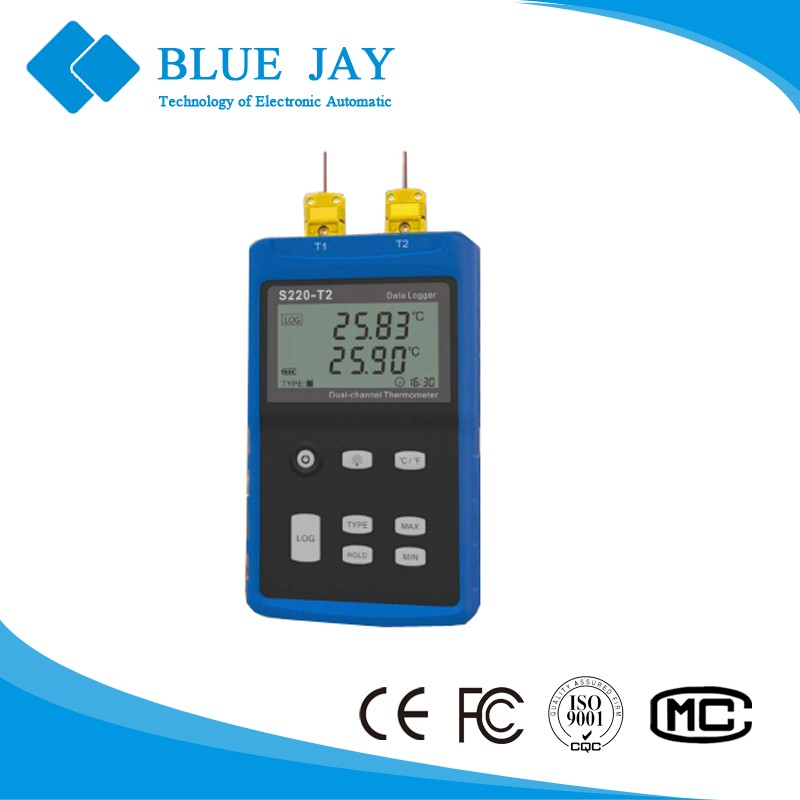 S220-T2 -200c ~ 1800C Handheld 2 Channel Digital LCD Display Thermocouple Temperature Data Logger