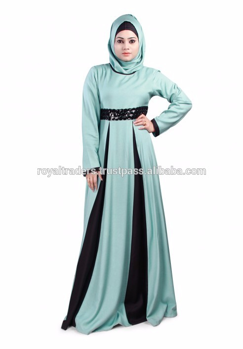 Front black long fashion abaya dress malaysia style muslim dress