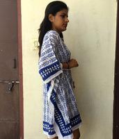 Natural Cotton Indian Party Wear Free Size Women's Kaftan Poncho