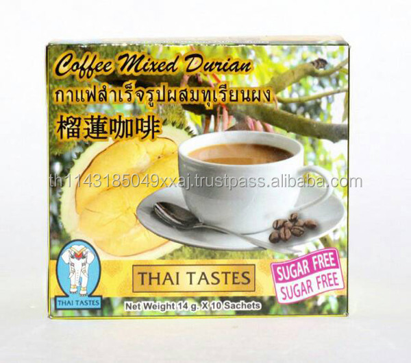 Natural Product Thai Tastes Instant Coffee Mixed Durian Sugar Free Health Coffee , High Quality Added Vitamin And Nutritional Be