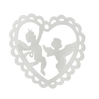 "Stainless Steel Charm Pendants Heart Silver Tone Angel Pattern 21.0mm( 7/8"") x 19.0mm( 6/8""), Thickness: 0.3mm, 50 PCs"