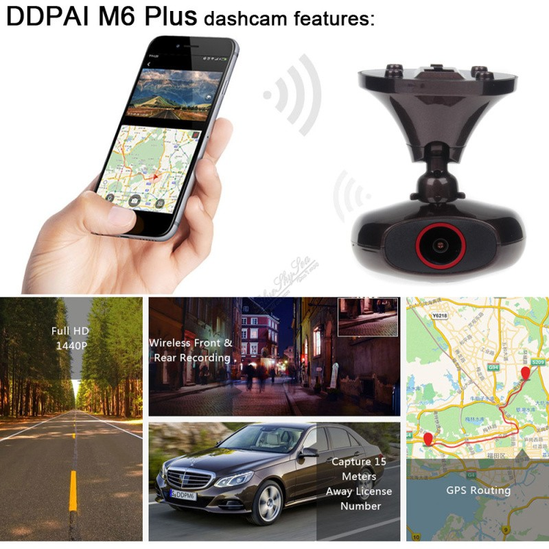 DDPAI M6 Plus GPS Camera DVR Remote Snapshot HD 1440P WIFI Car Dash Video Record