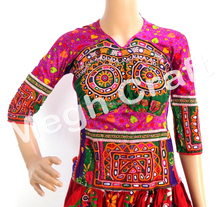 Indian Gujarati Kutch Work Embroidered Mirror Blouse Top-Navratri Embroiderd Mirror Work Blouse