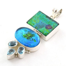Dichroic Glass jewelry 925 sterling silver jewelry Valentine jewelry Wholesale Glass Pendants