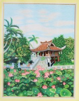 Embroidered painting of One Pillar Pagoda in Ha Noi, wall decoration,