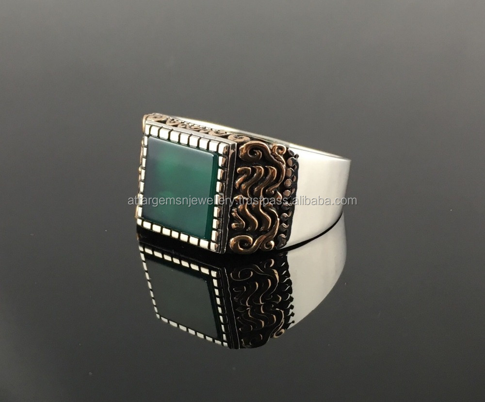 925 Sterling Silver Square Green AQEEQ Stone Men's Ring