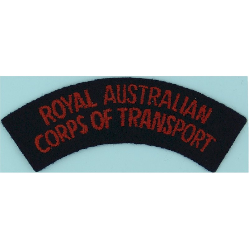 Royal Australian Corps Of Transport - No Border Red On Dark Blue Embroidered Non-British Army shoulder title