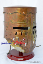 MEDIEVAL TEMPLAR KNIGHT CRUSADER ARMOUR REPLICA HELMET WITH WOODEN STAND