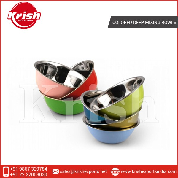 Personalized Stainless Steel Colored Deep Mixing Bowl Set