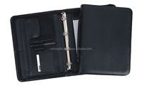 Leather conference folder with notepad holders and 4 rings