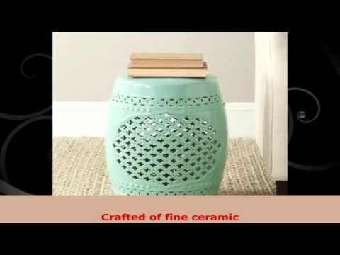 Safavieh Castle Gardens Collection Quatrefoil Ceramic Garden Stool Light Blue