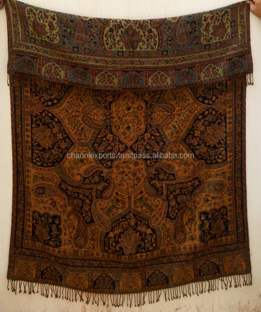 Handmade Multipurpose boiled wool throws Jamawar style