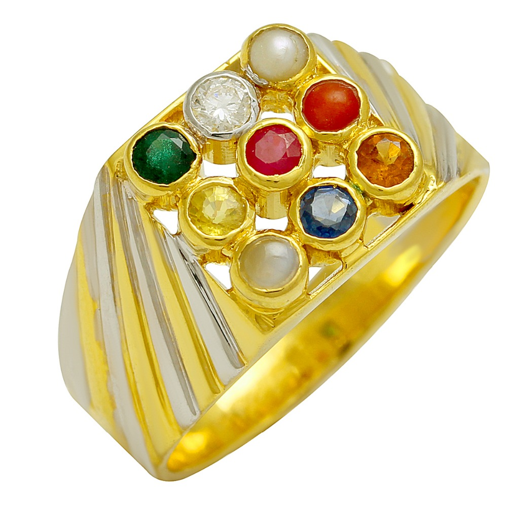 Real nine stone navratan 18k pure solid gold ring for gents