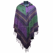 Women's Batwing Knitted Tassel Pullover Sweater Poncho Shawl