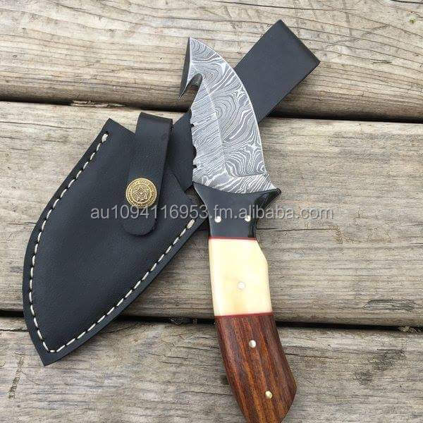 9 Inches Damascus Hunting Knife High Quality with Buffalo Horne Handle