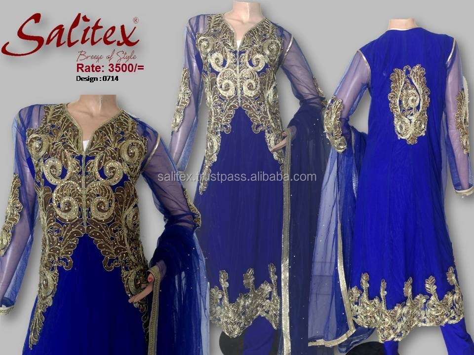 0714- Salitex Chiffon 3 piece suit net frock design fancy ladies suits ladies salwar suit design