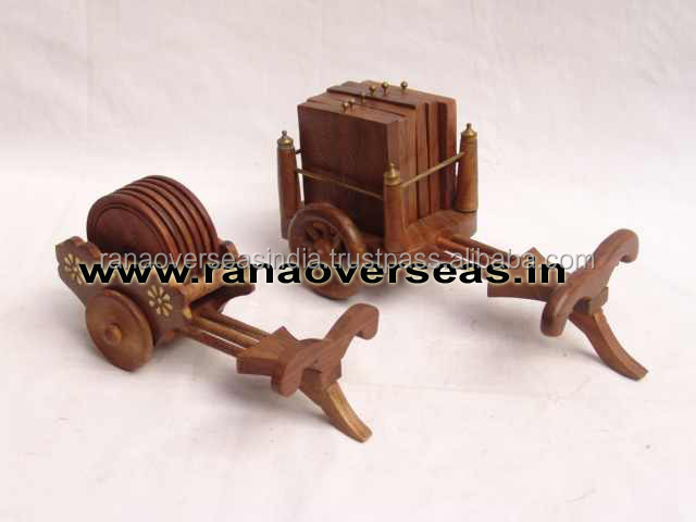 Wooden Carving Brass Inlay Bullock Cart Round and Square Shape Coaster Set