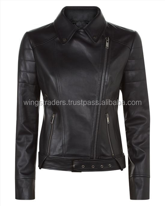 Summer Collection For Women Assymatric Zip Bikers Ladies Black Leather Jackets Made By Wings Traders