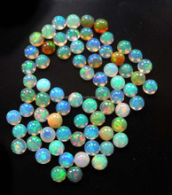 AAA Quality Natural White Ethiopian Opal 7mm Round Smooth With Multi Fire Loose Gemstone